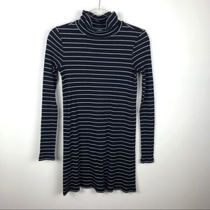 Abound Mock Neck Ribbed Striped Dress Black White